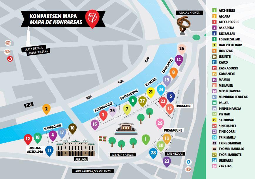Localización de todas las txosnas que habrá en el recinto festivo / Fuente: BilbokoKonpartsak